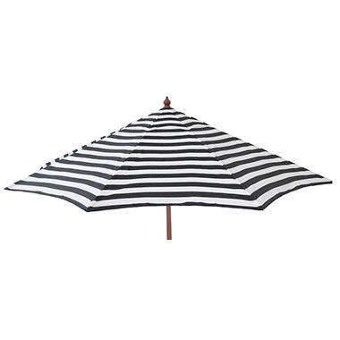 Euro 9 Ft. Wood Frame Umbrella, Black And White Stripe, Patio Pole