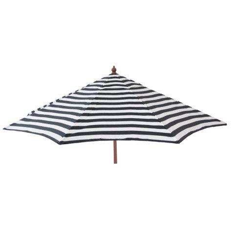 Euro 9-Ft. Wood Frame Umbrella, Black and White Stripe, Patio Pole