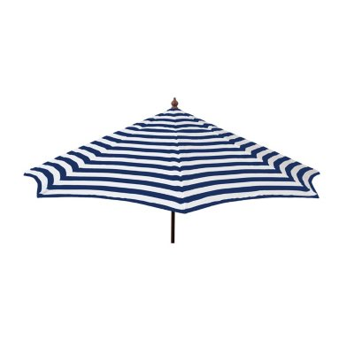 Euro 9 Ft. Wood Frame Umbrella Blue And White Stripe, Patio Pole