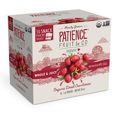 Patience Fruit Organic Dried Cranberries (1 oz., 30 ct.)