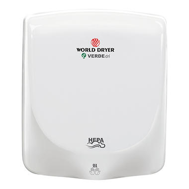 World Dryer VERDEdri Aluminum Hand Dryer, White