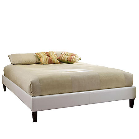 Fulton Upholstered Leather Padded Platform Slat Bed