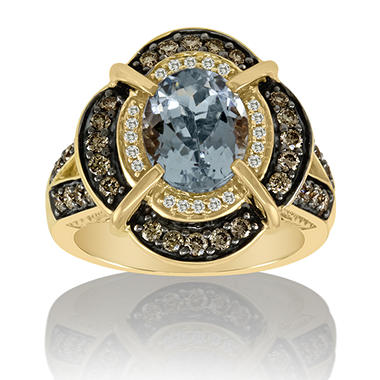 Aquamarine, White & Chocolate Diamond™ Ring