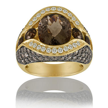 Smoky Quartz, White & Chocolate Diamonds™ Ring