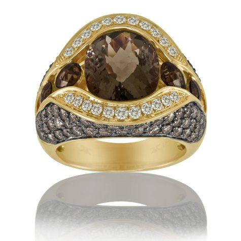 Smoky Quartz, White & Chocolate Diamonds™ Ring