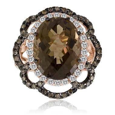 Smoky Quartz And Chocolate Diamond Ring