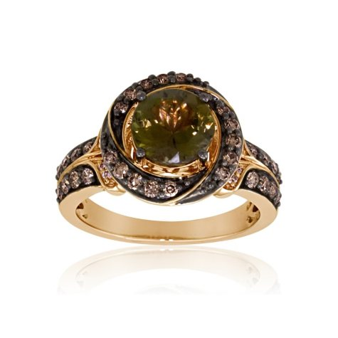 1.64 ct. Brown-Green Tanzanite Ring with .57 ct. t.w. Natural Fancy Brown Diamond Accents