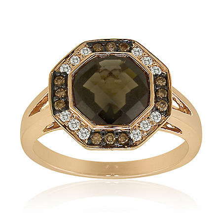 2.2 ct. Smokey Quartz Ring with White and Champagne Diamond Accents
