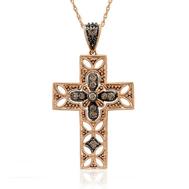 .24 ct. t.w. Diamond Cross Pendant in 14K Rose Gold