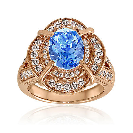 Blue Topaz, White Sapphire & Diamond Ring in 14K Rose Gold