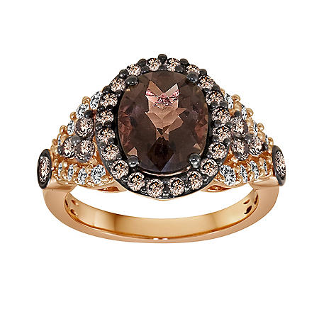Smoky Quartz and White Sapphire Ring in 14K Rose Gold