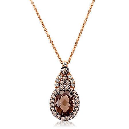 Smoky Quartz and White Sapphire Pendant in 14K Rose Gold