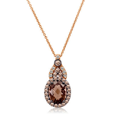 Smoky Quartz and White Sapphire Pendant in 14K Rose Gold