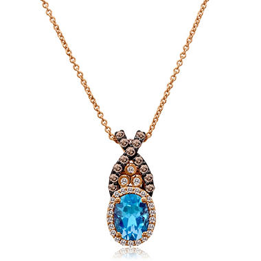 Blue Topaz, White and Diamond Pendant in 14K Rose Gold
