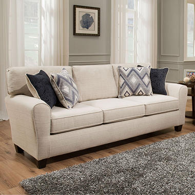 Sofa Smart Maggie Cream Three-Seat Sofa With Reversible Accent Pillows