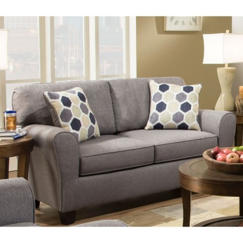 Sofa Smart Breanna Gray Love Seat With Reversible Accent Pillows