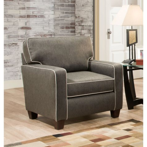 Sofa Smart Charlene Charcoal Chair With Contrasting Welt