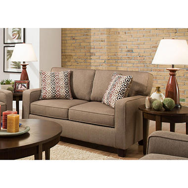 Sofa Smart Raylie Nutmeg Love Seat With Reversible Accent Pillows