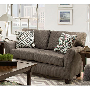 Sofa Smart Fiona Charcoal Love Seat With Reversible Accent Pillows