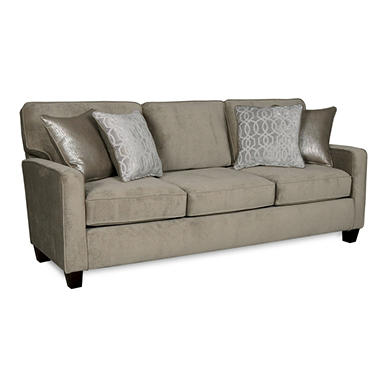 Sofa Smart Corley Platinum Three-Seat Sofa With Reversible Accent Pillows
