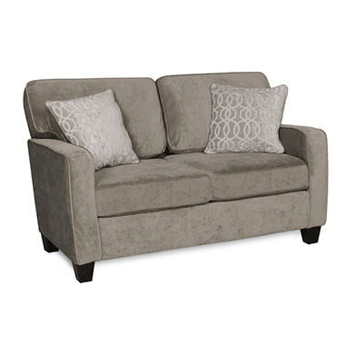 Sofa Smart Corley Platinum Love Seat With Reversible Accent Pillows