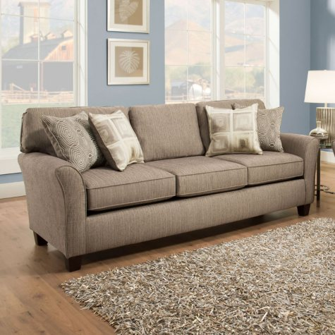 Sofa Smart Cassie Pewter 3-Seat Sofa With Reversible Accent Pillows