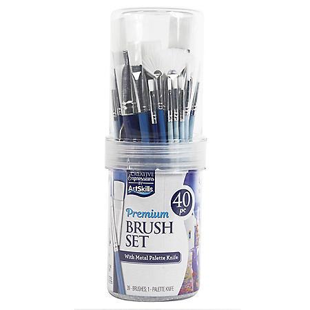 ArtSkills Premium 40 Piece Brush Set Includes Metal Palette Knife