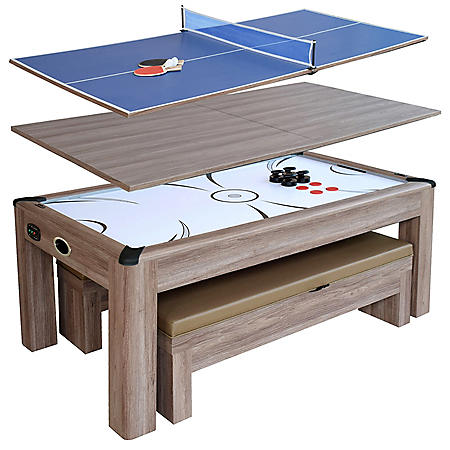 Driftwood 7' Air Hockey Table Combo Set with Benches