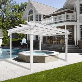 Renaissance 12 X 12 White Vinyl Pergola With Tall Base Moldings Sam S Club