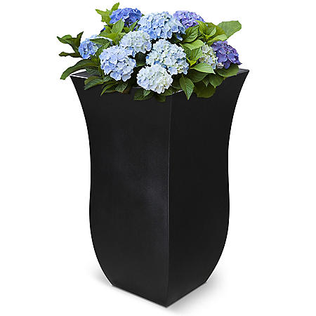 Valencia Tall Planter, 2 Pack (Black)