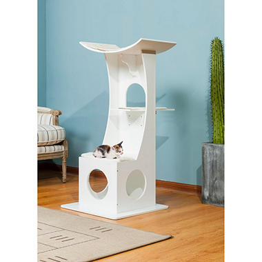 Elegant Home Fashions Cat Tree Box with Toy Rack, White