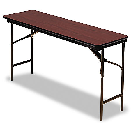 "Iceberg Premium 60"" x 18"" Wood Folding Table, Select Color"