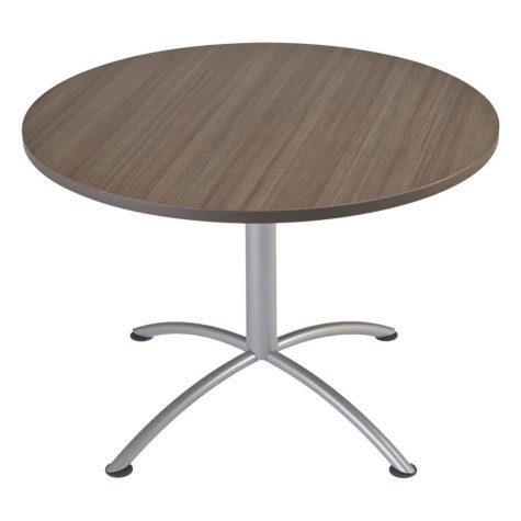"Iceberg iLand 42"" Contour Round Seated Style Table, Natural Teak/Silver"