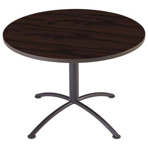 """Iceberg iLand 42"""" Contour Round Seated Style Table, Mahogany/Black"""