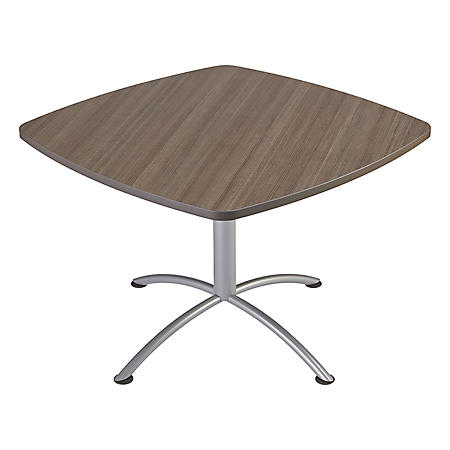 "Iceberg iLand 42"" Contour Square Seated Style Table, Mahogany/Silver"