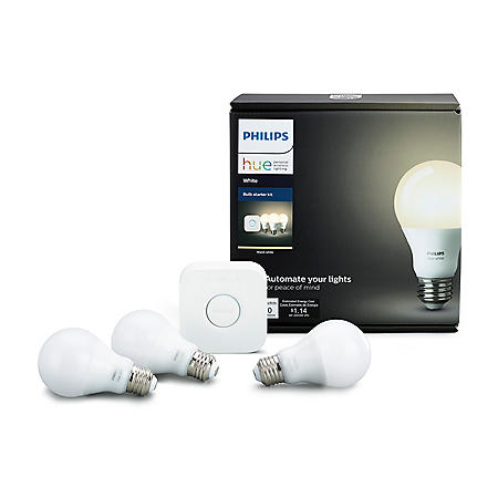 Philips Hue 3-Pack White Smart Bulb Starter Kit with Dimmer Switch