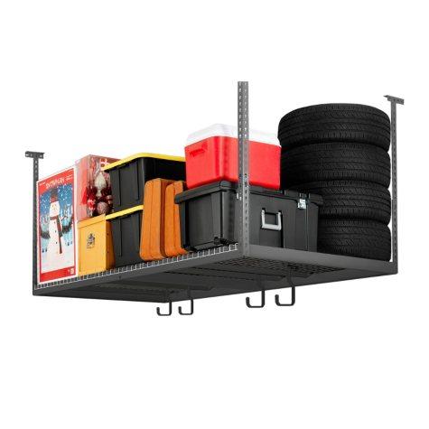NewAge Performance Series VersaRac 4' x 8' Adjustable Ceiling Storage w/ Hooks