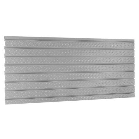 NewAge Products 56 in. Diamond Plate Silver Slatwall Backsplash