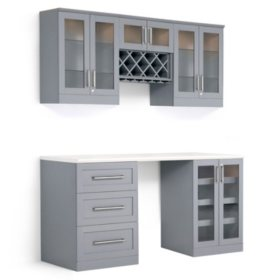 NewAge Products Shaker Style Bar Cabinets 6-Piece Set (Gray)