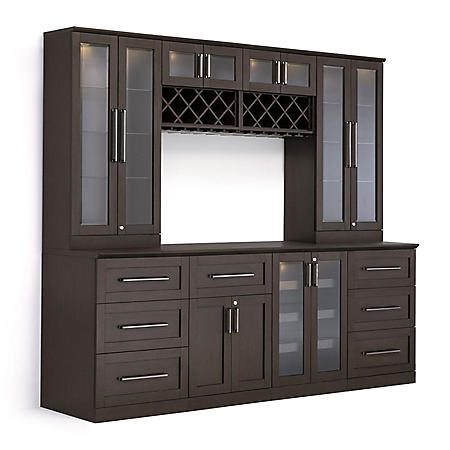 NewAge Products Shaker Style Bar Cabinets 9-Piece Set (Espresso)