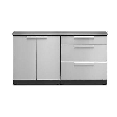 NewAge Products Outdoor Kitchen Cabinet - 3-Piece Set (Stainless Steel)
