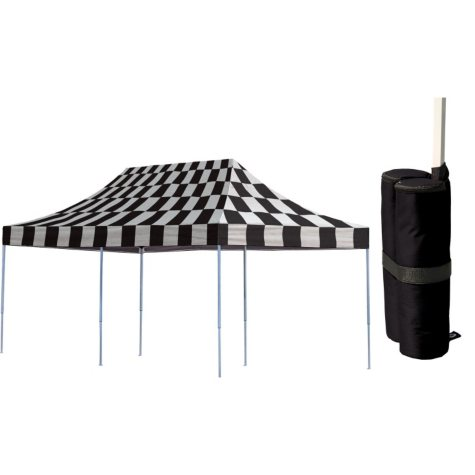 10 x 20 ft. Pop-Up Canopy with Anchor Bags - Checkered Flags