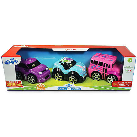 Shake for Sound Pink School Bus, Purple Race Car and Surfer Buggy