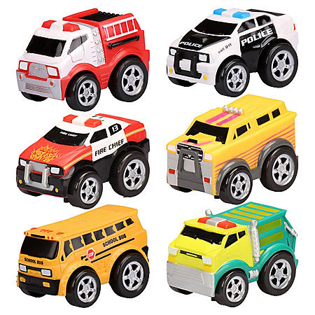 Soft Body Pull Back Vehicle 6 Pack