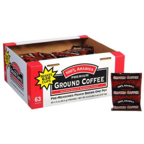 100% Arabica Premium Ground Coffee (1.5 oz. Portion Packs, 63 ct.)