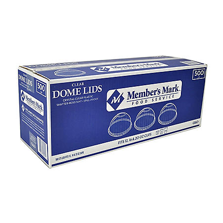 Member's Mark Dome Cup Plastic Lids - 12, 16, 20, 24 oz. (500 ct.)