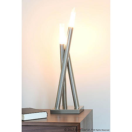 Icicle Contemporary Table Lamp in Brushed Nickel