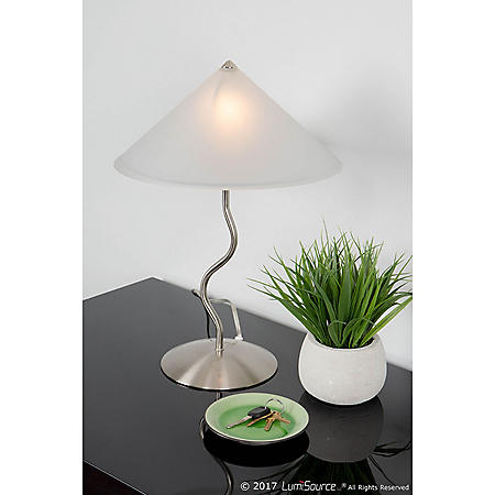 Doe Li Contemporary Desk Lamp with Brushed Satin Finish