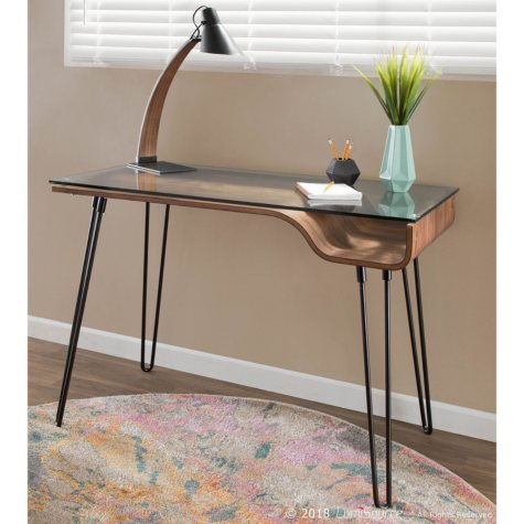 Avery Mid-Century Modern Desk in Walnut Wood, Clear Glass and Black Metal