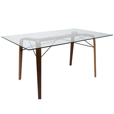 Trilogy Mid-Century Modern Dining Table in Walnut and Clear Glass